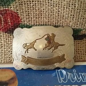 Vintage small calf roping belt buckle